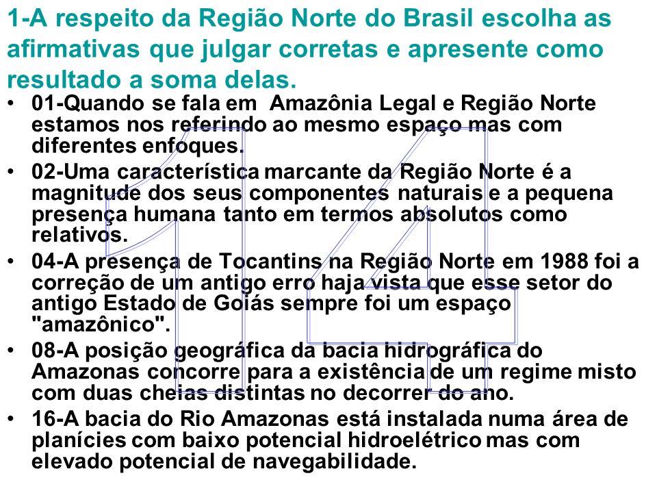 1-A respeito da Região Norte do Brasil escolha as afirmativas que julgar corretas e apresente como resultado a soma delas. 01-Quando se fala em Amazôn