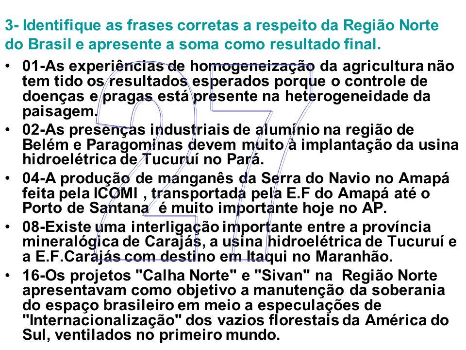 3- Identifique as frases corretas a respeito da Região Norte do Brasil e apresente a soma como resultado final. 01-As experiências de homogeneização d