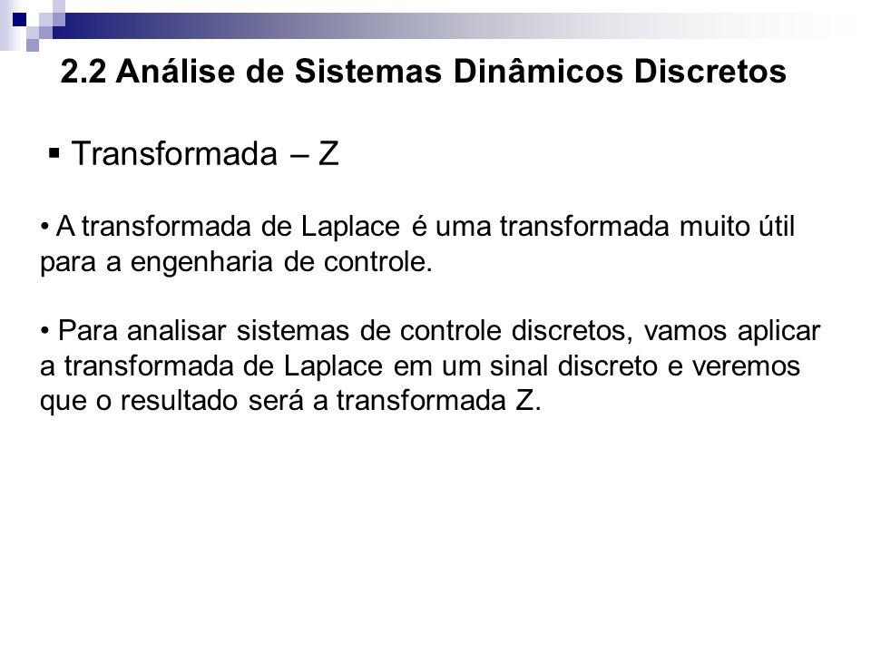 2.2 Análise de Sistemas Dinâmicos Discretos Transformada – Z A transformada de Laplace é uma transformada muito útil para a engenharia de controle. Pa