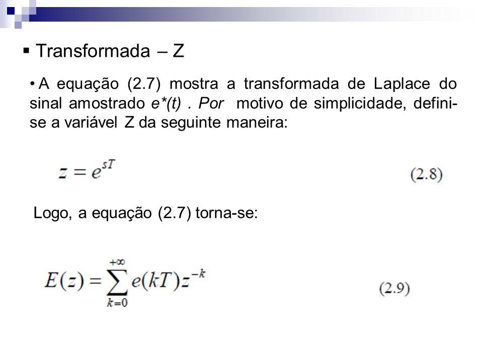 Transformada – Z A equação (2.7) mostra a transformada de Laplace do sinal amostrado e*(t). Por motivo de simplicidade, defini- se a variável Z da seg