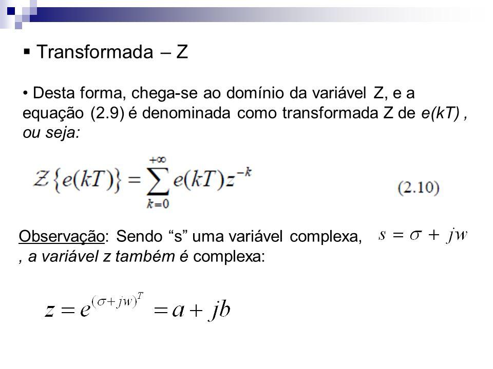 Transformada – Z Desta forma, chega-se ao domínio da variável Z, e a equação (2.9) é denominada como transformada Z de e(kT), ou seja: Observação: Sen