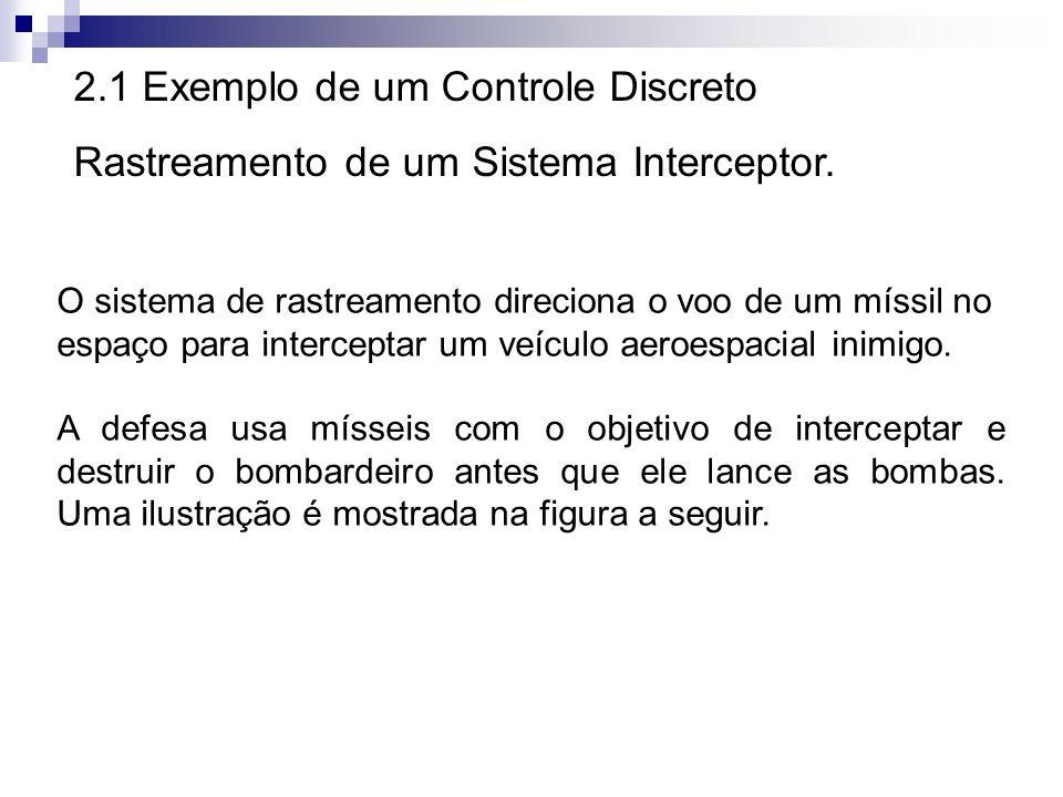 2.1 Exemplo de um Controle Discreto Rastreamento de um Sistema Interceptor. O sistema de rastreamento direciona o voo de um míssil no espaço para inte