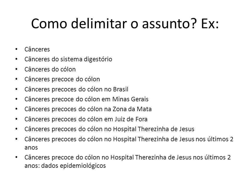 Como delimitar o assunto? Ex: Cânceres Cânceres do sistema digestório Cânceres do cólon Cânceres precoce do cólon Cânceres precoces do cólon no Brasil
