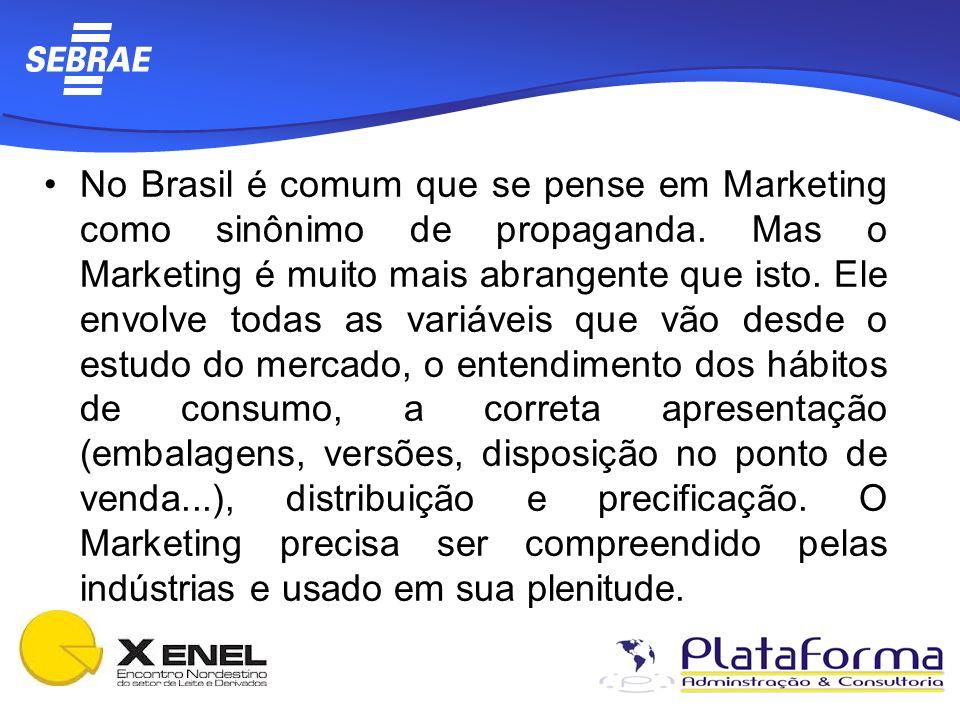 No Brasil é comum que se pense em Marketing como sinônimo de propaganda. Mas o Marketing é muito mais abrangente que isto. Ele envolve todas as variáv