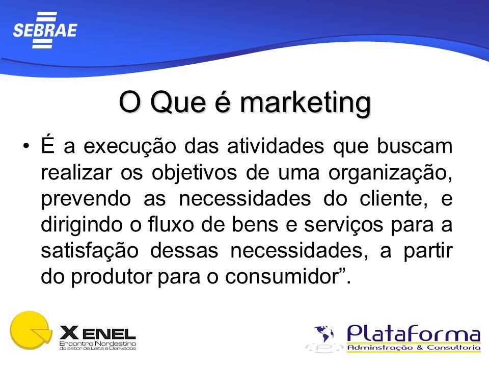 O Que é marketing É a execução das atividades que buscam realizar os objetivos de uma organização, prevendo as necessidades do cliente, e dirigindo o