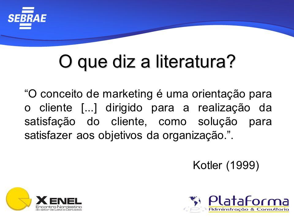 O que diz a literatura? O conceito de marketing é uma orientação para o cliente [...] dirigido para a realização da satisfação do cliente, como soluçã