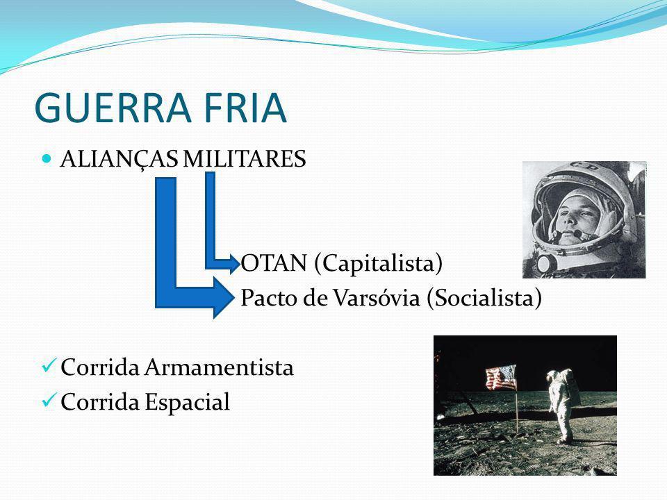 GUERRA FRIA ALIANÇAS MILITARES OTAN (Capitalista) Pacto de Varsóvia (Socialista) Corrida Armamentista Corrida Espacial