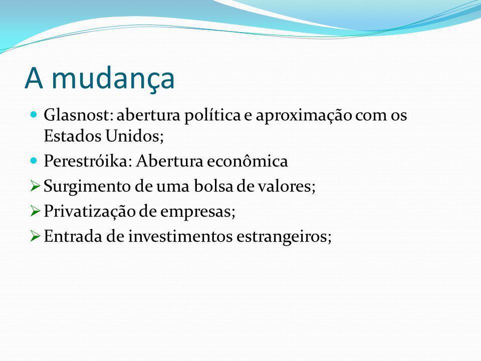 A mudança Glasnost: abertura política e aproximação com os Estados Unidos; Perestróika: Abertura econômica Surgimento de uma bolsa de valores; Privati
