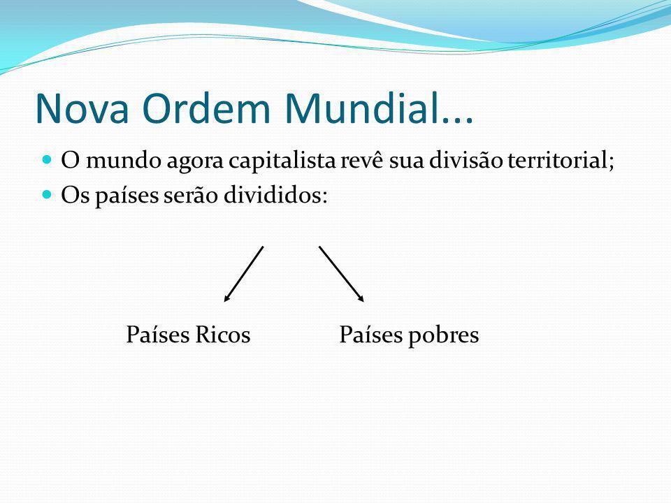 Nova Ordem Mundial... O mundo agora capitalista revê sua divisão territorial; Os países serão divididos: Países Ricos Países pobres