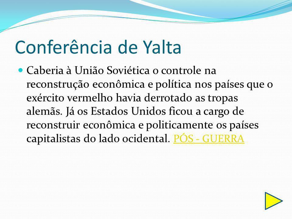 Conferência de Yalta Caberia à União Soviética o controle na reconstrução econômica e política nos países que o exército vermelho havia derrotado as t