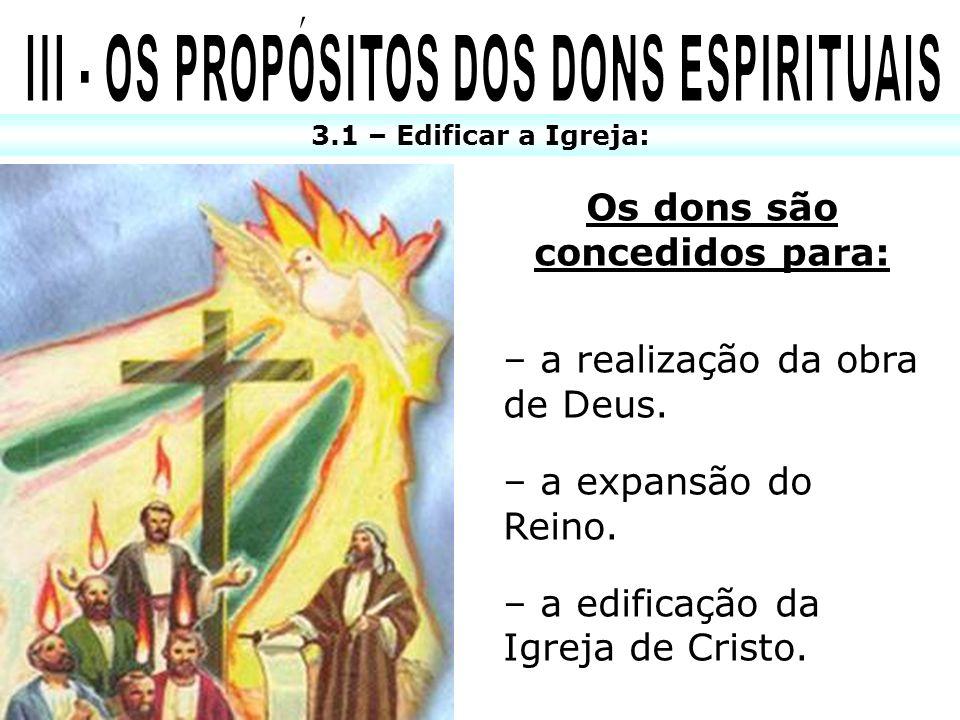 3.1 – Edificar a Igreja: Os dons são concedidos para: – a realização da obra de Deus. – a expansão do Reino. – a edificação da Igreja de Cristo.