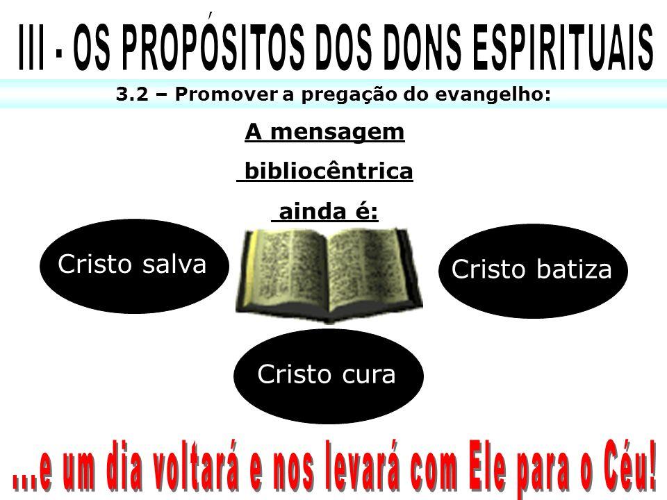 3.2 – Promover a pregação do evangelho: A mensagem bibliocêntrica ainda é: Cristo salva Cristo cura Cristo batiza