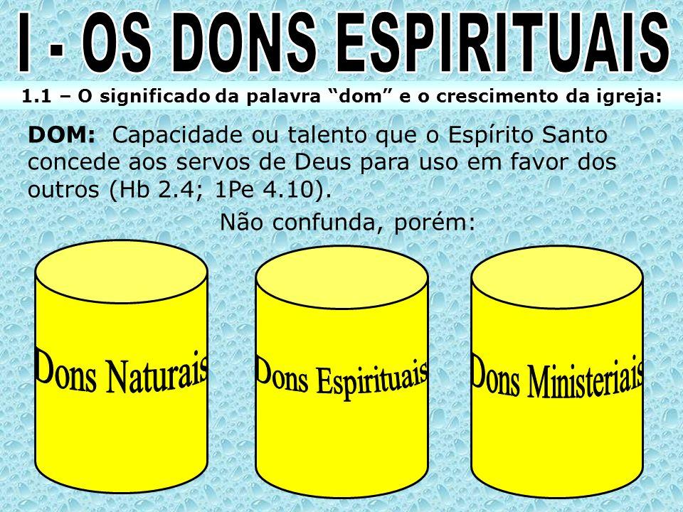 1.1 – O significado da palavra dom e o crescimento da igreja: DOM: Capacidade ou talento que o Espírito Santo concede aos servos de Deus para uso em f