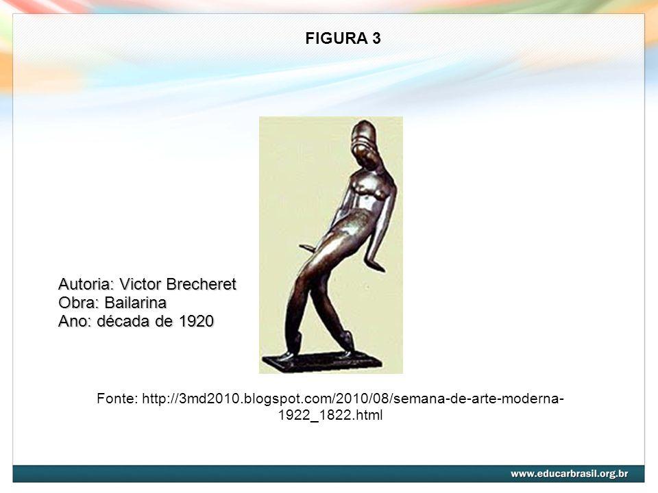 Fonte: http://3md2010.blogspot.com/2010/08/semana-de-arte-moderna- 1922_1822.html FIGURA 3 Autoria: Victor Brecheret Obra: Bailarina Ano: década de 19