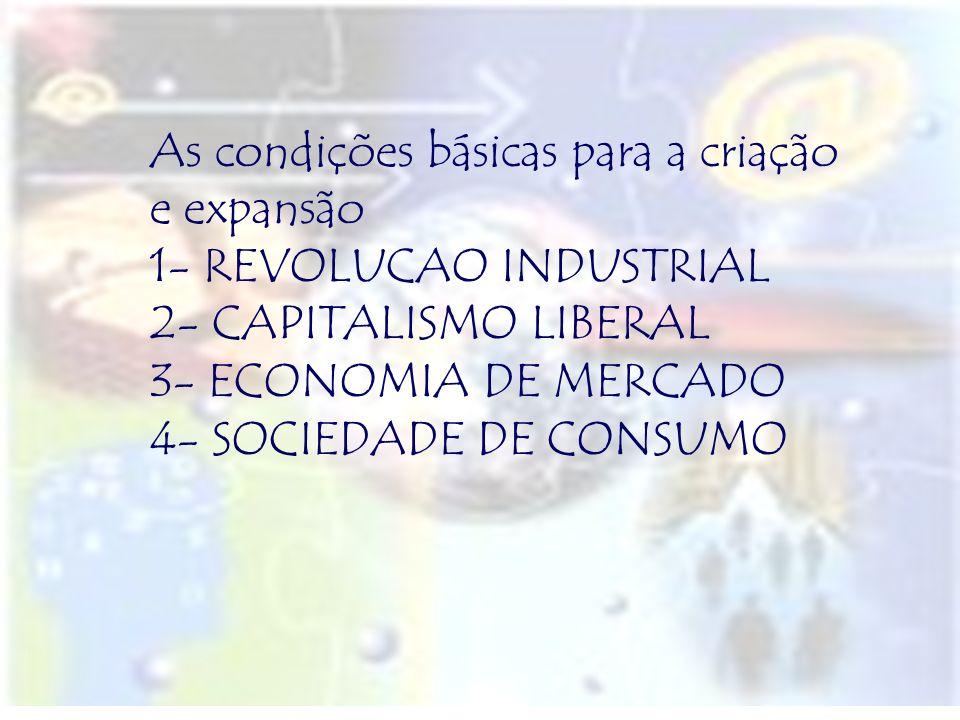 As condições básicas para a criação e expansão 1- REVOLUCAO INDUSTRIAL 2- CAPITALISMO LIBERAL 3- ECONOMIA DE MERCADO 4- SOCIEDADE DE CONSUMO