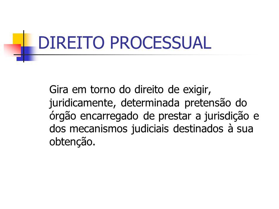 DIREITO PROCESSUAL Gira em torno do direito de exigir, juridicamente, determinada pretensão do órgão encarregado de prestar a jurisdição e dos mecanis