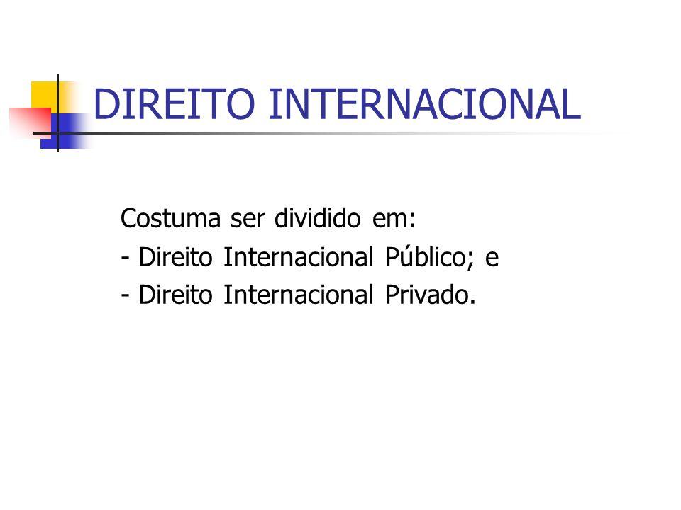 DIREITO INTERNACIONAL Costuma ser dividido em: - Direito Internacional Público; e - Direito Internacional Privado.