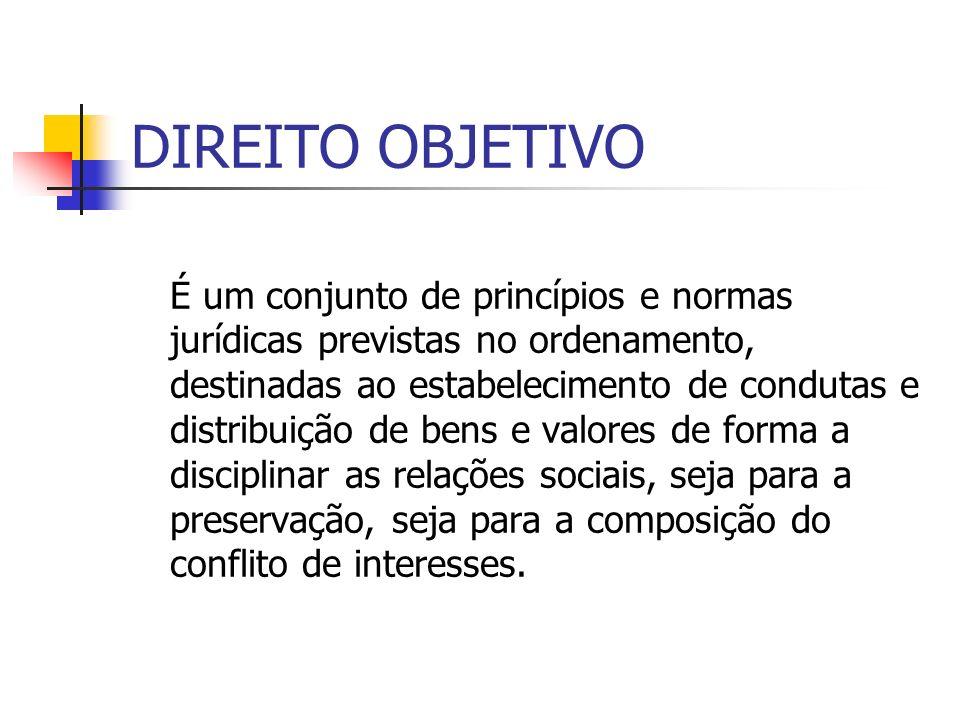 DIREITO OBJETIVO É um conjunto de princípios e normas jurídicas previstas no ordenamento, destinadas ao estabelecimento de condutas e distribuição de