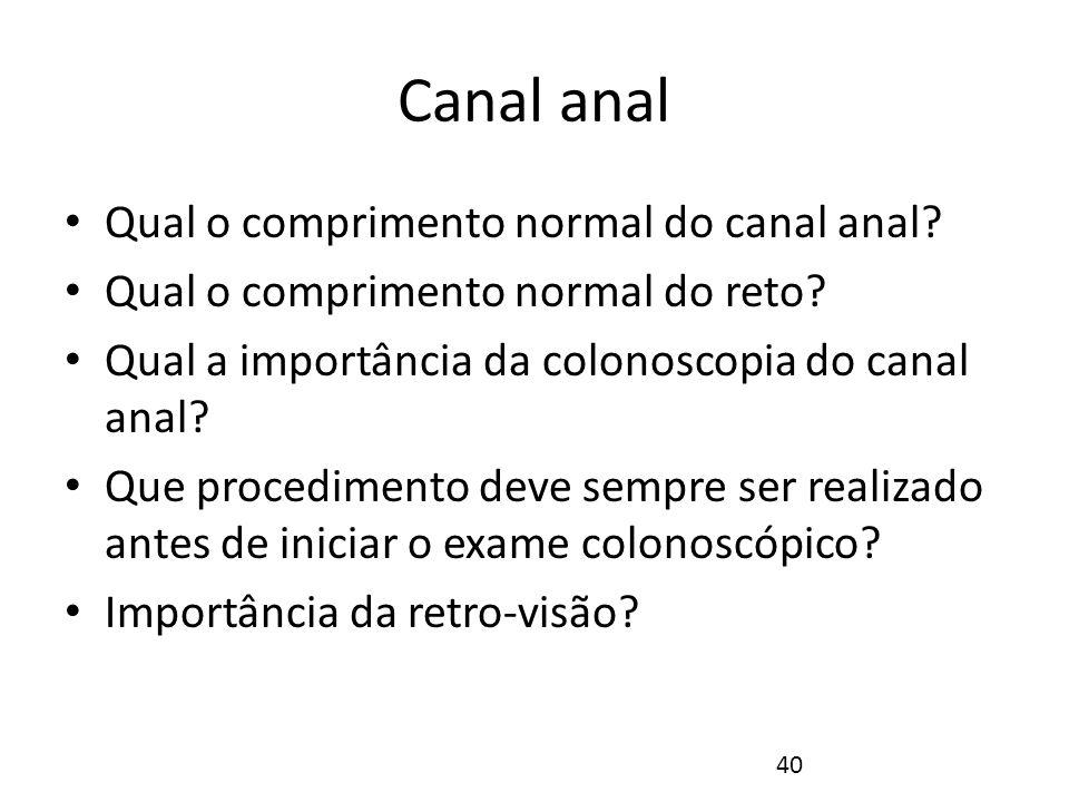 Canal anal O canal anal é bastante curto (3 centímetros de comprimento) O esfíncter anal interno é o mais profundo, e resulta de um espessamento de fibras musculares lisas circulares, sendo conseqüentemente involuntário.