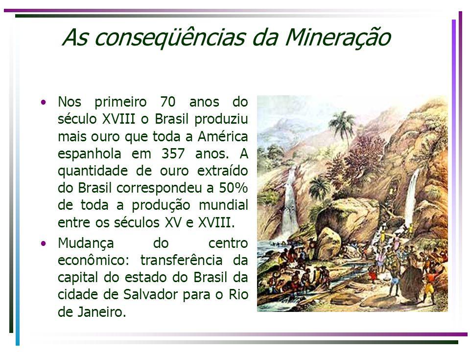 As conseqüências da Mineração Nos primeiro 70 anos do século XVIII o Brasil produziu mais ouro que toda a América espanhola em 357 anos. A quantidade