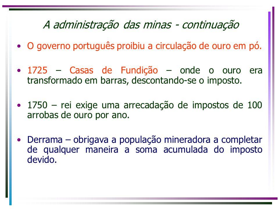 O governo português proibiu a circulação de ouro em pó. 1725 – Casas de Fundição – onde o ouro era transformado em barras, descontando-se o imposto. 1