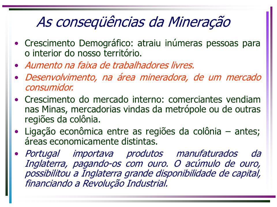 As conseqüências da Mineração Crescimento Demográfico: atraiu inúmeras pessoas para o interior do nosso território. Aumento na faixa de trabalhadores