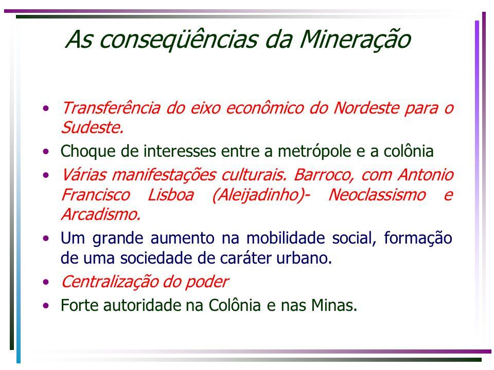 As conseqüências da Mineração Transferência do eixo econômico do Nordeste para o Sudeste. Choque de interesses entre a metrópole e a colônia Várias ma