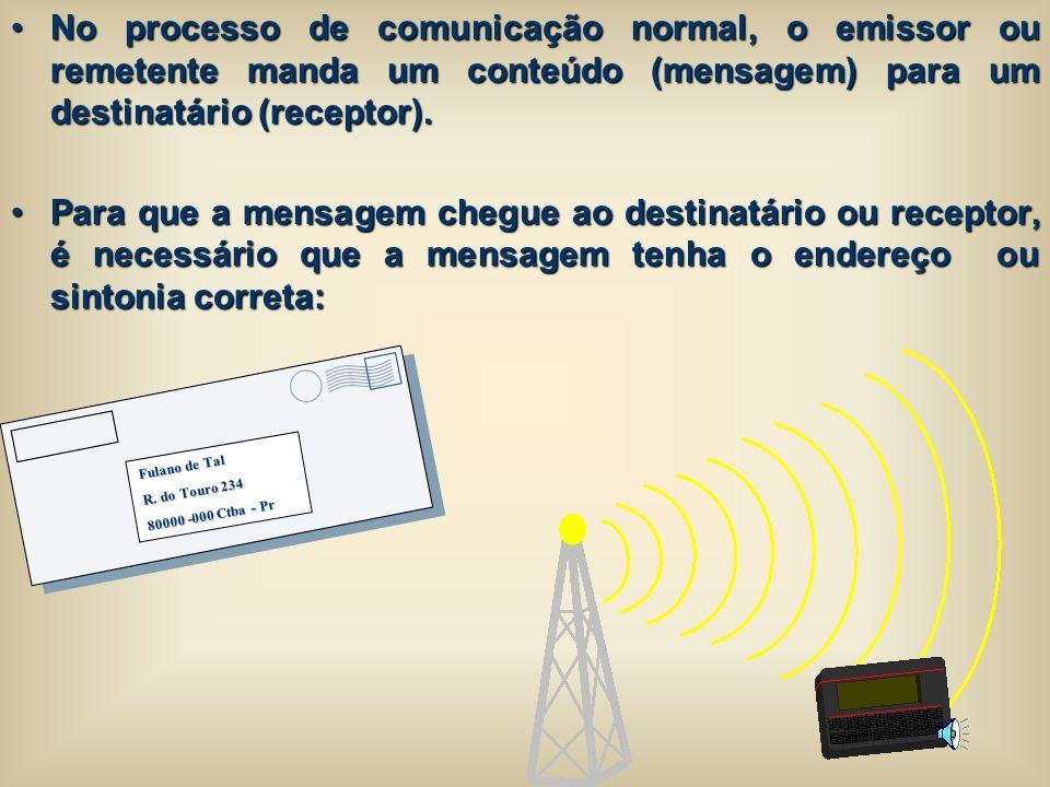 No processo de comunicação normal, o emissor ou remetente manda um conteúdo (mensagem) para um destinatário (receptor).No processo de comunicação norm