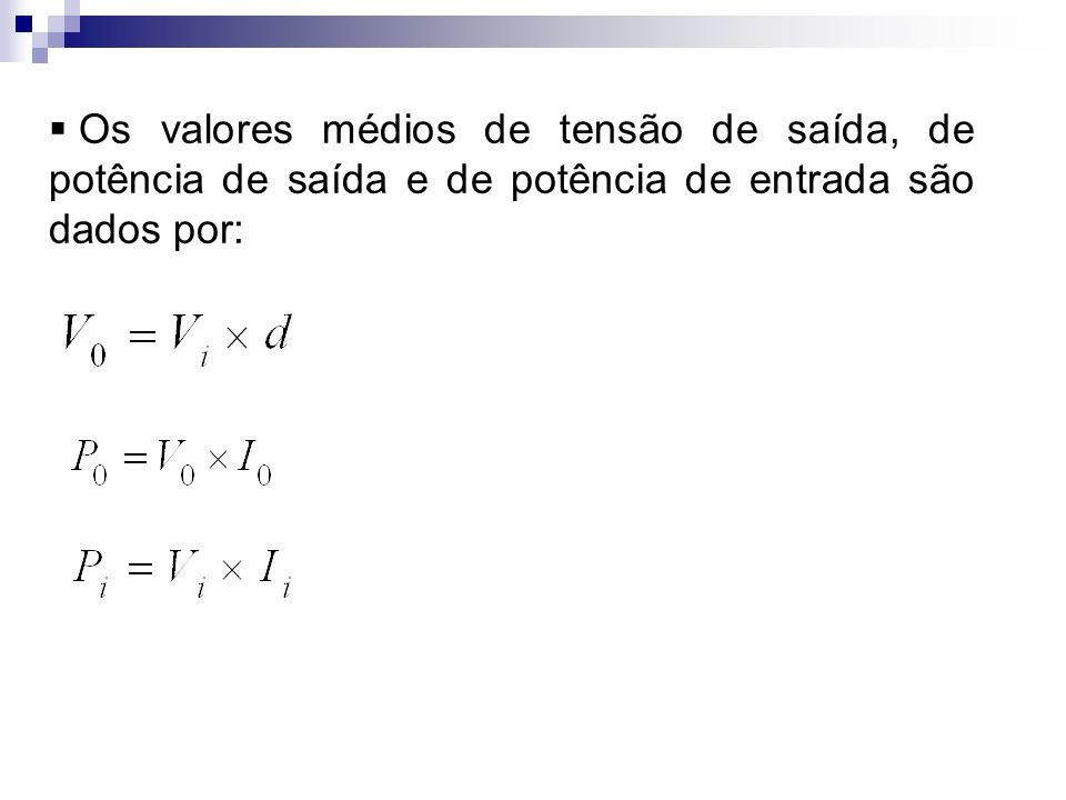 Os valores médios de tensão de saída, de potência de saída e de potência de entrada são dados por: