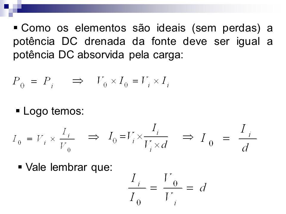 Como os elementos são ideais (sem perdas) a potência DC drenada da fonte deve ser igual a potência DC absorvida pela carga: Logo temos: Vale lembrar q