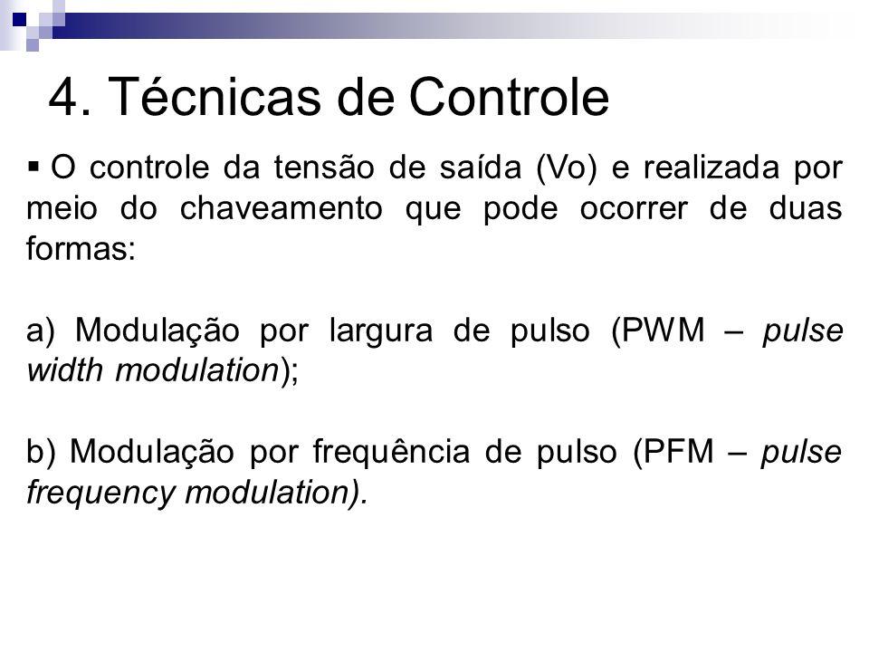 4. Técnicas de Controle O controle da tensão de saída (Vo) e realizada por meio do chaveamento que pode ocorrer de duas formas: a) Modulação por largu