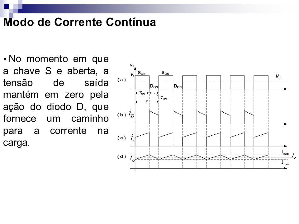 Modo de Corrente Contínua No momento em que a chave S e aberta, a tensão de saída mantém em zero pela ação do diodo D, que fornece um caminho para a c
