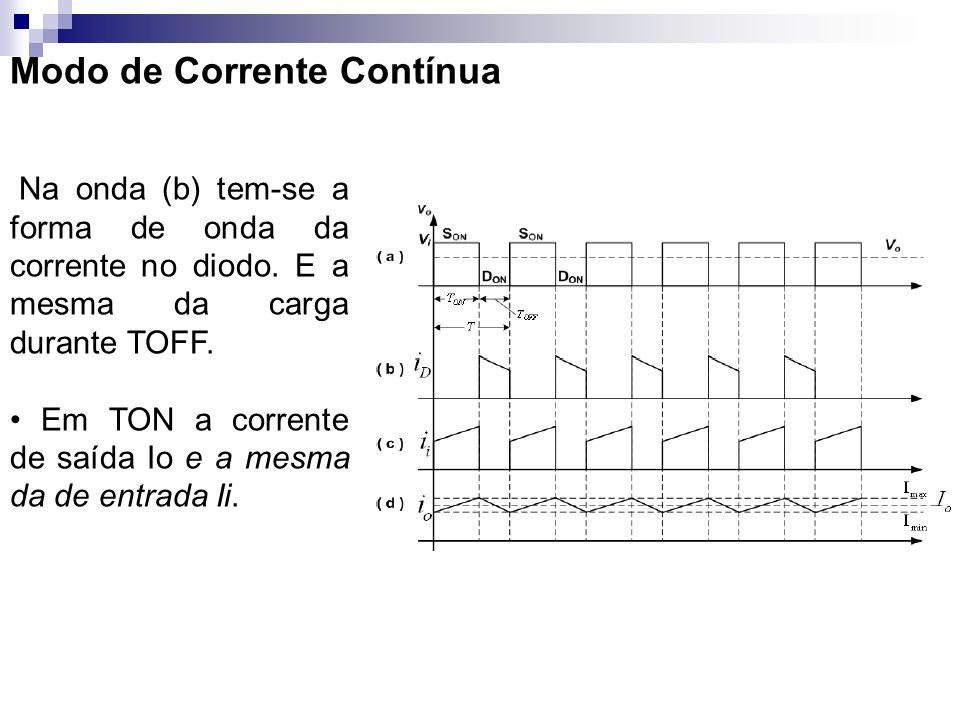 Modo de Corrente Contínua Na onda (b) tem-se a forma de onda da corrente no diodo. E a mesma da carga durante TOFF. Em TON a corrente de saída Io e a