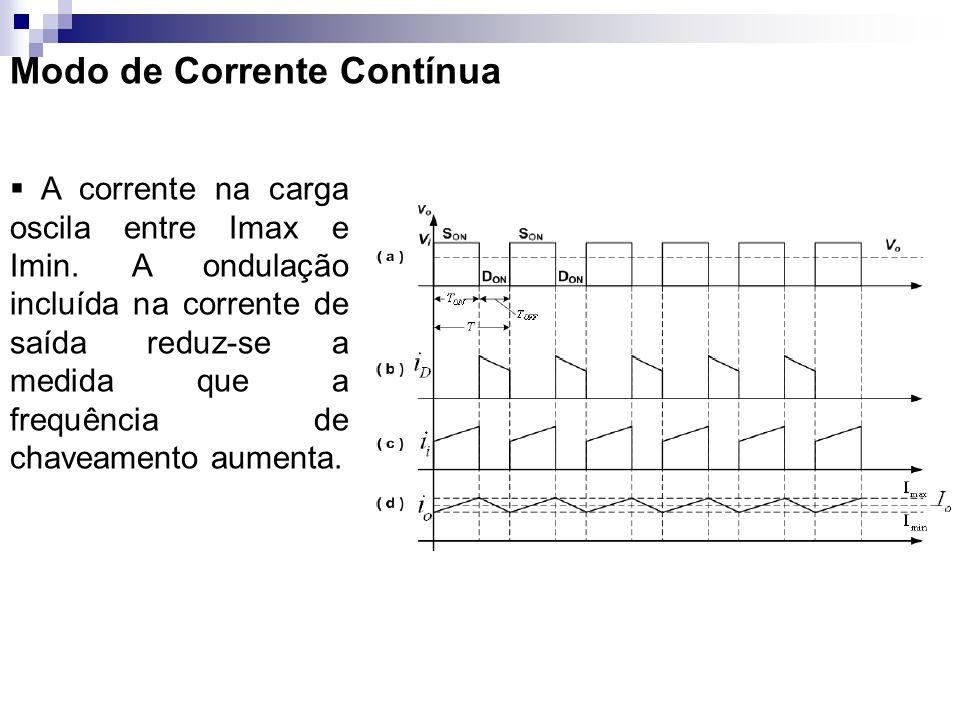 Modo de Corrente Contínua A corrente na carga oscila entre Imax e Imin. A ondulação incluída na corrente de saída reduz-se a medida que a frequência d
