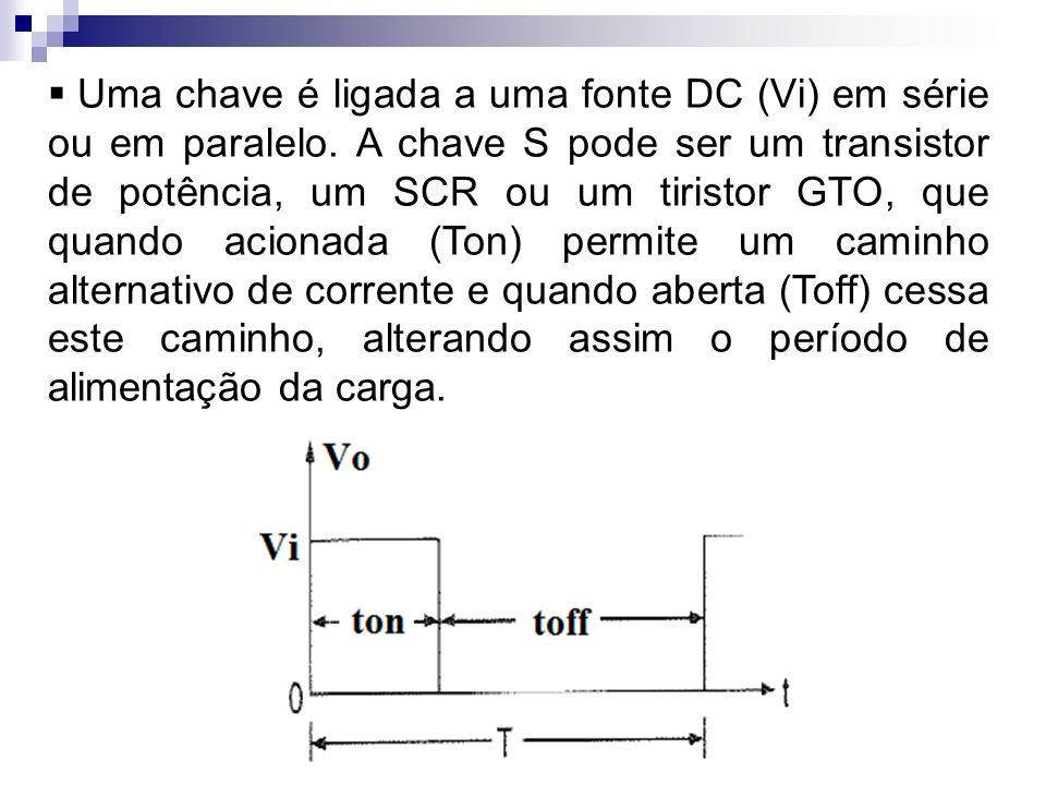 Uma chave é ligada a uma fonte DC (Vi) em série ou em paralelo. A chave S pode ser um transistor de potência, um SCR ou um tiristor GTO, que quando ac