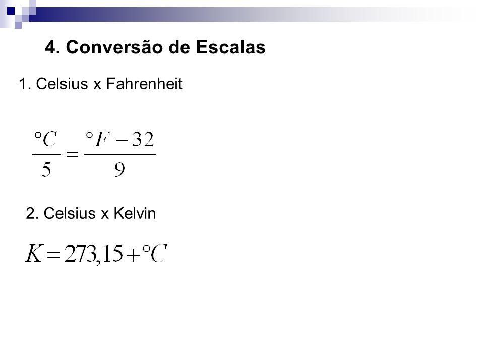 4. Conversão de Escalas 1. Celsius x Fahrenheit 2. Celsius x Kelvin