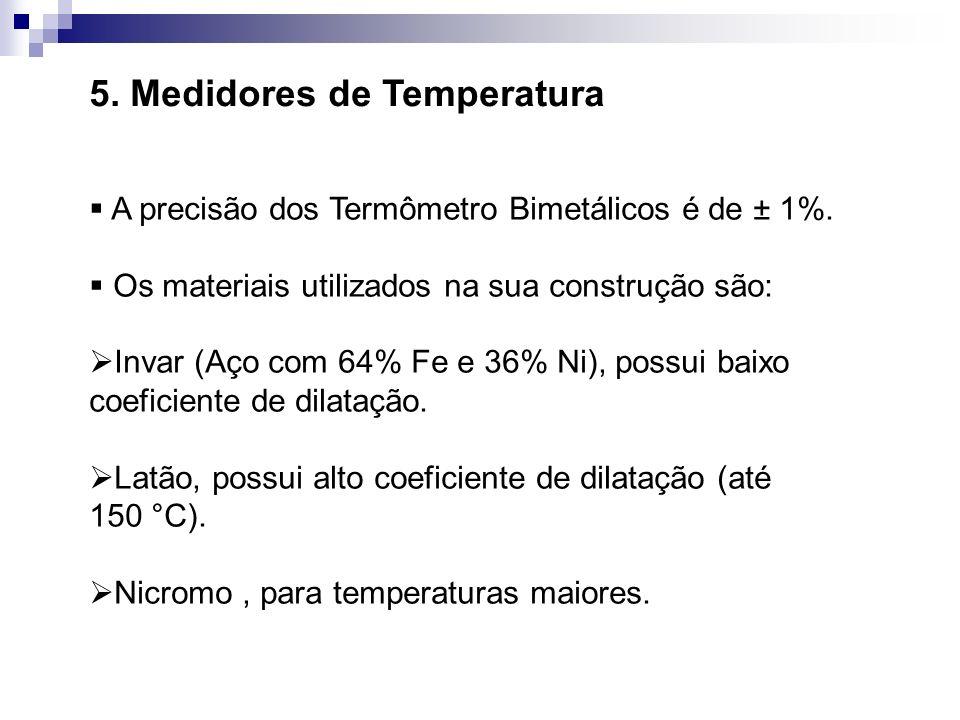 5. Medidores de Temperatura A precisão dos Termômetro Bimetálicos é de ± 1%. Os materiais utilizados na sua construção são: Invar (Aço com 64% Fe e 36