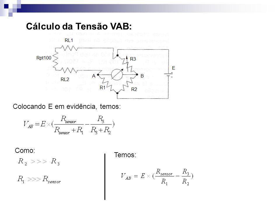 Cálculo da Tensão VAB: Colocando E em evidência, temos: Como: Temos: