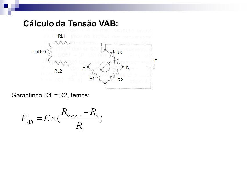 Cálculo da Tensão VAB: Garantindo R1 = R2, temos: