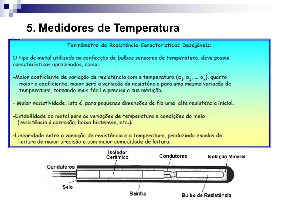 Termoresistências Esses sensores adquiriram espaço nos processos industriais por suas condições de alta estabilidade mecânica e térmica, resistência a contaminação, baixo índice de desvio pelo envelhecimento e tempo de uso.
