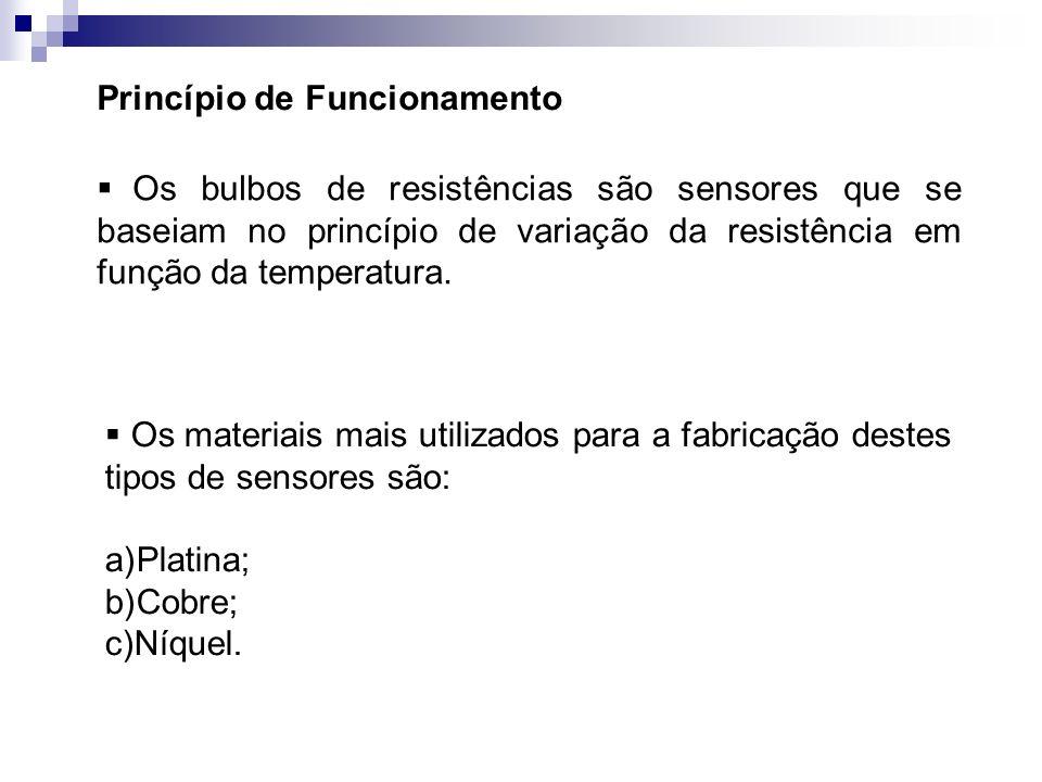Princípio de Funcionamento O bulbo de resistência se compõe de um filamento, ou resistência Pt, Cu ou Ni, com diversos revestimentos, de acordo com cada tipo de aplicação.