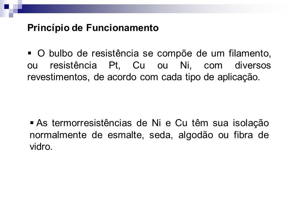 Princípio de Funcionamento O bulbo de resistência se compõe de um filamento, ou resistência Pt, Cu ou Ni, com diversos revestimentos, de acordo com ca
