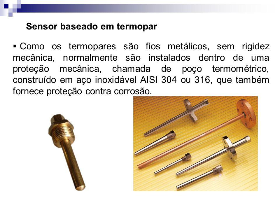 Sensor baseado em termopar Como os termopares são fios metálicos, sem rigidez mecânica, normalmente são instalados dentro de uma proteção mecânica, ch