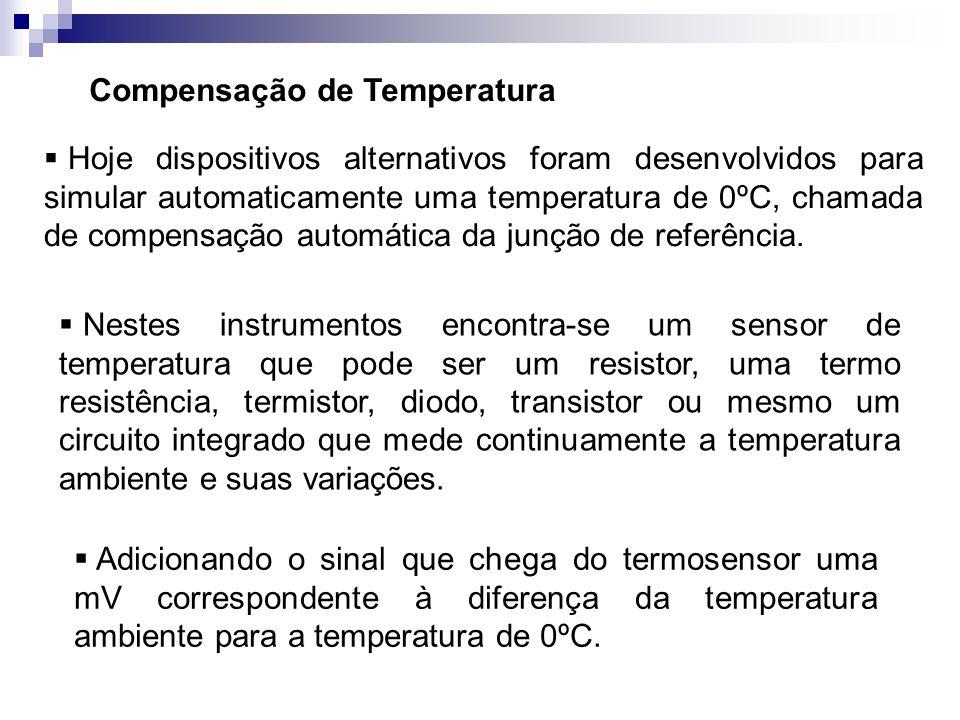 Compensação de Temperatura Hoje dispositivos alternativos foram desenvolvidos para simular automaticamente uma temperatura de 0ºC, chamada de compensa