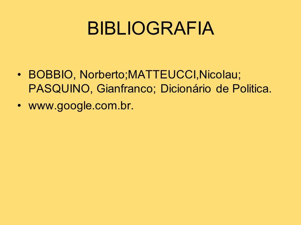 BIBLIOGRAFIA BOBBIO, Norberto;MATTEUCCI,Nicolau; PASQUINO, Gianfranco; Dicionário de Politica. www.google.com.br.