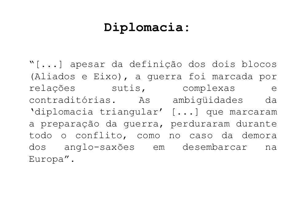 Diplomacia: [...] apesar da definição dos dois blocos (Aliados e Eixo), a guerra foi marcada por relações sutis, complexas e contraditórias. As ambigü