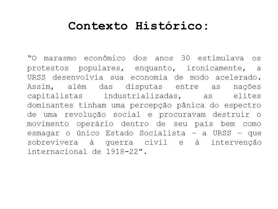 Contexto Histórico: O marasmo econômico dos anos 30 estimulava os protestos populares, enquanto, ironicamente, a URSS desenvolvia sua economia de modo