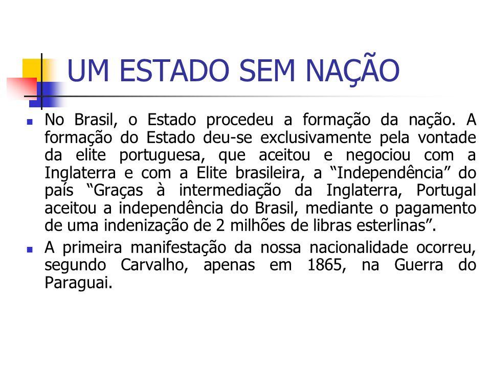 UM ESTADO SEM NAÇÃO No Brasil, o Estado procedeu a formação da nação. A formação do Estado deu-se exclusivamente pela vontade da elite portuguesa, que