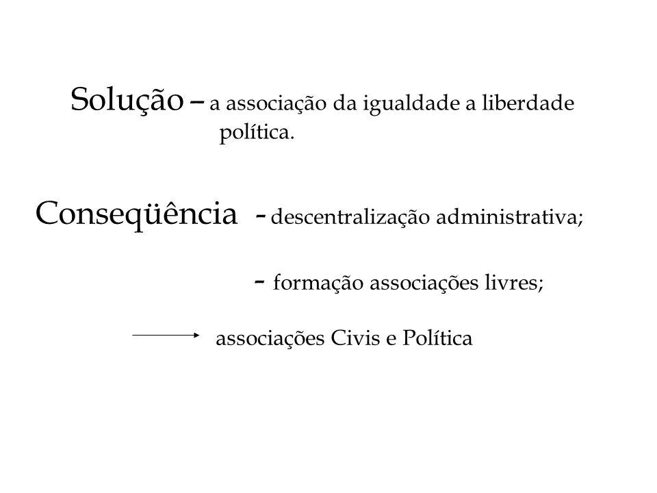 Solução – a associação da igualdade a liberdade política. Conseqüência - descentralização administrativa; - formação associações livres; associações C