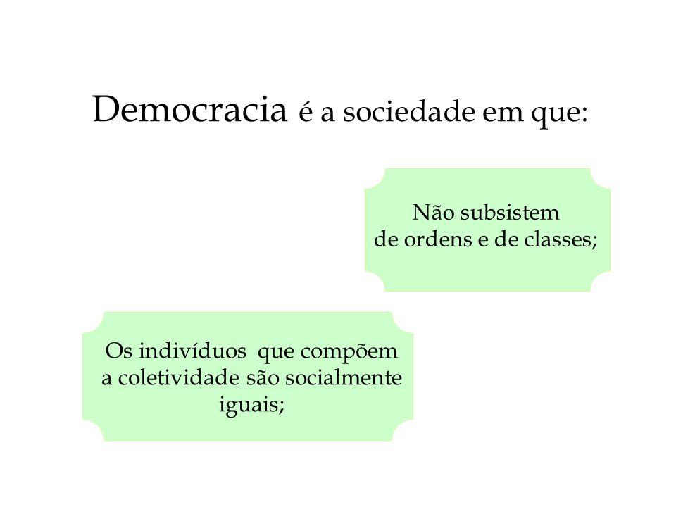 Democracia é a sociedade em que: Não subsistem de ordens e de classes; Os indivíduos que compõem a coletividade são socialmente iguais;